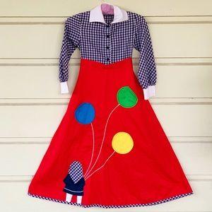 Vintage 70s Youngland Balloon Applique Shirt Dress